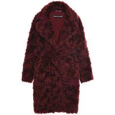 Rochas Dark Red Teddy Bear Coat (€3.100) ❤ liked on Polyvore featuring outerwear, coats, teddy bear coat, rochas, long sleeve coat, tie belt and rochas coat
