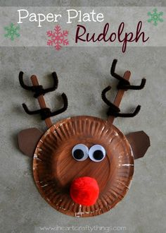 Paper Plate Rudolph Reindeer Craft for Kids.