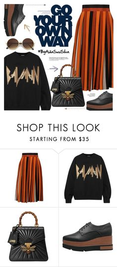 """Go Your Own Way"" by aidasusisilva ❤ liked on Polyvore featuring Givenchy, Balmain, Gucci and Maison Margiela"