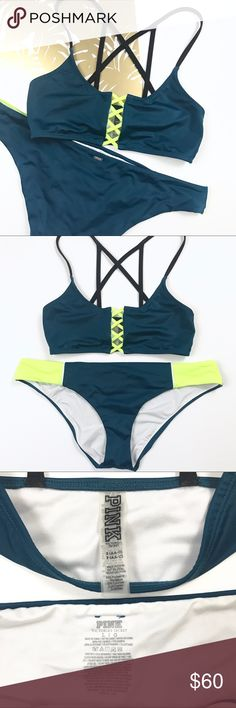 PINK Swim Suit * PLEASE READ FOR SIZING!!*** Worn once bikini by PINK Victorias's Secret. Top is Size Small , Bottoms are Size Large! I'm a 34B and wear a size 29/30 pants. Love the sporty look of this suit! PINK Swim Bikinis