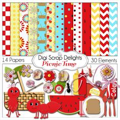 Picnic Digital Scrapbook Kit Red Aqua Yellow Ants clip art by DigiScrapDelights Digital Scrapbook Paper, Digital Scrapbooking Freebies, Scrapbook Kit, Digital Papers, Blog Wallpaper, Birthday Invitations, Birthday Banners, Journal Cards, Diy Party