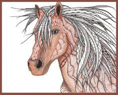 Horse in Zentangle Art Print   by Collectincat