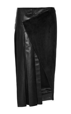 Lambskin Asymmetric Pleated Skirt by Prabal Gurung for Preorder on Moda Operandi $2,990