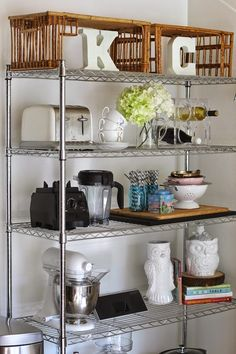 ♡ Open Kitchen Shelves ♡ Would be amazing if you could pull the idea off, would need to make the area fun and keep it tidy at all times. Easy to grab things though! Kitchen Buffet, Kitchen Rack, Diy Kitchen Storage, Rustic Kitchen Decor, Diy Kitchen Cabinets, Open Kitchen, Wire Shelving Kitchen, Kitchen Ideas, Rustic Kitchens