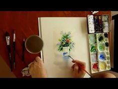 ▶ Peindre à l'aquarelle - Comment peindre un bouquet de fleurs à l'aquarelle - watercolor - YouTube
