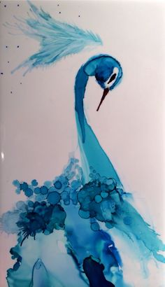Aqua Peacock -alcohol ink on ceramic tile