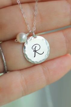 Mother's Necklace Large Initial Necklace Sterling by LRoseDesigns, $39.00 with a pearl