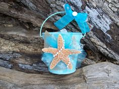 Blue Beach Flower Girl Bucket Aqua Beach Wedding by OneFunDay, $25.00