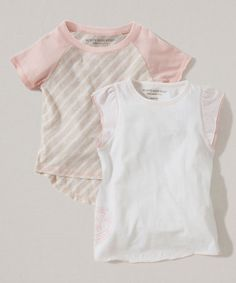 Another great find on #zulily! Cloud & Pink Stripe Organic Tee Set - Infant, Toddler & Girls #zulilyfinds