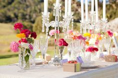 crystals and brights in this fun table setting