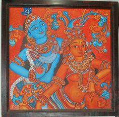 Lord krishna giving geethopadesham to arjuna mural for Asha mural painting guruvayur