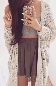 Summer Outfit - Crop top & cardigan - but with shorts! :)
