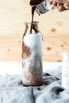 vegan chocolate cream soda making - (original recipe via mast brothers chocolate cookbook).