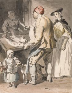 London Cries: A Fishmonger by Paul Sandby 1759  Note: The short cape with hood down, black (felt) hat robing front gown with apron, sleeved waistcoat, Child's shortgown worn over a gown.  The shortgown looks like it is crossing over the cf of the body and fastening on the  side.