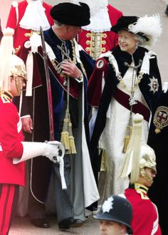 ilovethebritishroyals  Prince of Wales and Queen Elizabeth at the Order of the Garter service 2013