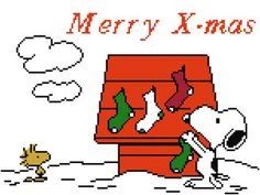Snoopy Peanuts Christmas Cross Stitch Pattern PDF by StitchRoberts