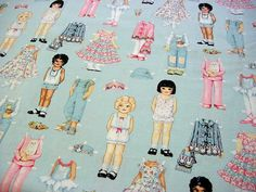 Paper Dolls - OOP Cotton Quilt Fabric by Patty Reed Designs -Pink Blue Dress up Clothes Ballerina Tutu Bunny Coat Hat Overalls Cat PJs