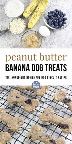 Peanut Butter Banana Dog Treats with Blueberries Spoil your pooch on a budget! You can easily make these six ingredient peanut butter banana dog treats with ingredients you probably already have. Dog Biscuit Recipe Easy, Dog Biscuit Recipes, Dog Food Recipes, Homemade Dog Cookies, Homemade Dog Food, Diy Dog Treats, Healthy Dog Treats, No Bake Dog Treats, Puppy Treats