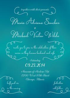 "Blue Wedding - Underwater Effect - Teal Ombre Wedding Invitation - ""Viva Amore"" - Designed by Lauren DiColli Hooke"
