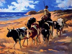 Impressionist art Oxen on the beach Joaquin Sorolla y Bastida paintings home decor Handmade High quality Spanish Painters, Spanish Artists, Claude Monet, Valencia, Impressionist Artists, Animal Paintings, Oil Paintings, Canvas Art Prints, Artwork