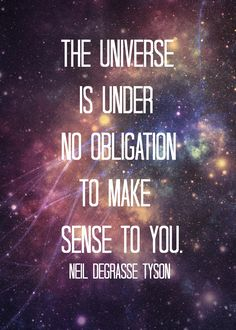 """""""The Universe is under no obligation to make sense to you."""" -Neil DeGrasse Tyson"""