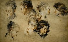 Sketches by Jean Antoine Watteau Trois Crayons, Life Drawing, Figure Drawing, Painting & Drawing, Jean Antoine Watteau, Louvre Paris, Drawing Studies, Pretty Art, Belle Photo