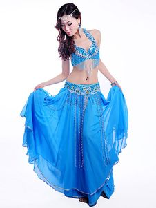 Belly Dance Costume Chiffon Luxuriously Beaded Fringes Tie Back Bra With Layered Pleated Long Flare Skirt