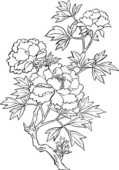 花の無料デザイン画像-ボタン-モノクロ線画