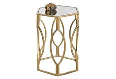 Worlds Away Morroco Hexagonal Side Table In Gold Leaf With Antique Mirror Top - possible between barrel chairs Contemporary Side Tables, Modern Side Table, Furniture Decor, Furniture Design, Lane Furniture, Accent Furniture, Gold Furniture, Hexagon Sides, Gold Table
