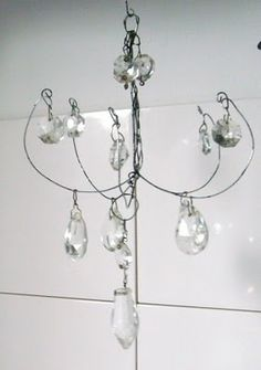 the fisherman's cottage:  DIY chandelier from wire & crystals