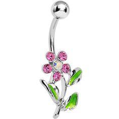 Pink Gem Aurora Flower Silver Belly Ring | Body Candy Body Jewelry