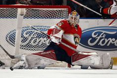 SUNRISE, FL - FEBRUARY 3: Goaltender James Reimer #34 of the Florida Panthers defends the net against the Anaheim Ducks at the BB&T Center on February 3, 2017 in Sunrise, Florida. (Photo by Eliot J. Schechter/NHLI via Getty Images)