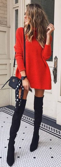 Ad. Red sweater dress  Black knee over the knee boots. Gucci over the shoulder bag. #style #fashion