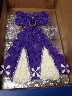Sofia The First birthday cupcake dress. First Birthday Cupcakes, Sofia The First Birthday Party, Fun Cupcakes, 3rd Birthday Parties, Cupcake Cakes, Birthday Ideas, Cupcake Dress Cake, Gourmet Cupcakes, Princess Cupcake Dress