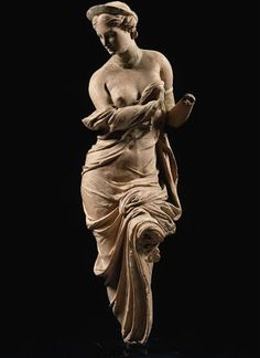 Clay figurine of Aphrodite.  The statue probably stems from Myrina in Asia Minor, a town that like Tanagra was famous for its terracotta. 2nd century BCE