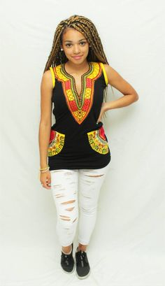 Top noir wax bi matière coton wax par AfricanStyleAS sur Etsy