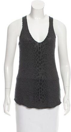 Grey Zadig & Voltaire sleeveless cashmere top with crystal embellishments at front, scoop neck and high-low hem. Proenza Schouler, Silk Top, Basic Tank Top, Cashmere, Scoop Neck, Tank Tops, Clothes, Black, Women
