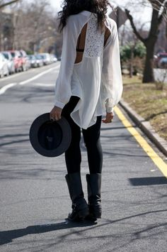 You can never go wrong with a white and black look.