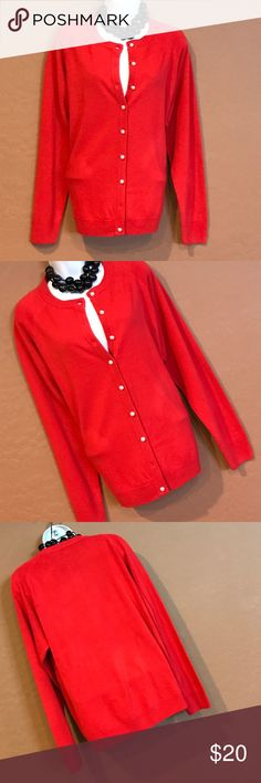 WOT Red Cardigan Sweater Never Worn, cream button down, I noticed one button is missing at the bottom and one is loose, easy fix by taking the top button since we don't button all anyway, stretch, long sleeve. Price reflects the defects. Sarah Bentley  Sweaters Cardigans