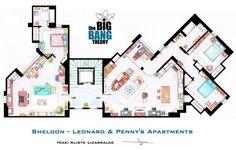 Floor Plans of the Big Bang's apartments. Oooo, I love floorplans. And Sheldon. :-)