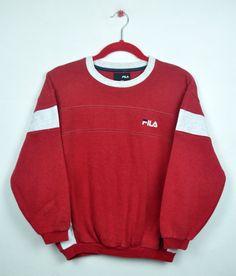 Vintage 90s Fila Embroidered Small Fila Logo CrewNeck Pullover 1950s  Fashion 8ec3f6a1fad6c