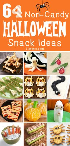 Smart Health Talk Top Pick: 64 Non-Candy Halloween Snack Ideas. Looked through these myself and found many new ideas and all made from real food and no sugary treats. Can use organic ingredients on most available as organic choice as well to avoid GMOs/pesticides. Whether for a halloween party, or to just make the holiday special all day for your kids many fun ideas that are sure to spook or at least make them smile. Check out more Halloween ideas: