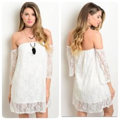 White Off-the-Shoulder Lace Dress Girly and flirty! This off-the-shoulder lace dress has three quarter length sleeves. It is fully lined and has a relaxed fit. It is made of 100% polyester. Boutique Dresses