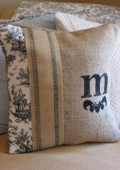 French Toile and Burlap Handpainted Pillow Cover. $35.00, via Etsy.
