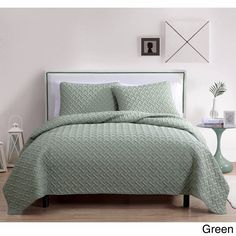 Green Full/Queen Nina Embossed 100% Polyester 3-piece Quilt Set Light Soft Feel #VCNY #Contemporary