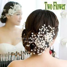 casamento/noiva/dama de honra acessórios frisado handmade pino de cabelo elegante mulher chapelaria flor pérolas branco frete grátis US $29.90