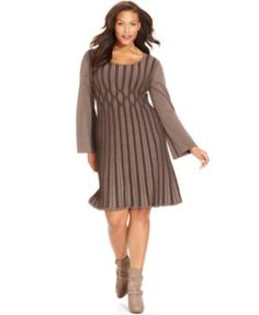 Style Co. Plus Size Ribbed-Knit Sweater Dress Taupe 2X #Styleco