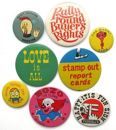 Colorful buttons for design-lovers from the Busy Beaver Button Museum Simon Walker, Empire Records, Button Badge, Pin Button, Logos Retro, Adobe Illustrator, Funny Tee Shirts, Pin And Patches, Cute Pins