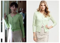 "Ann Taylor Petite Merino Crewneck Cardigan (color mint) as seen on Mary Margaret in episode 1x03 ""Snow Falls"" (No longer available) Note: There is currently one listing for this item on ebay"