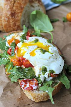Poached Egg, Heirloom Tomato, and Burrata Toast with Basil Vinaigrette - The Secret Ingredient Is